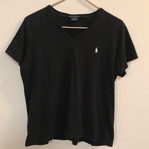 Ralph Lauren Sport Women Black V-neck T-shirt